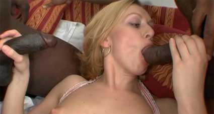 blonde bimbo takes two black cocks in her ass at the same time